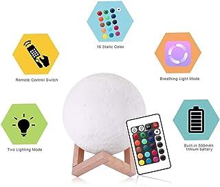 Xuba - Lámpara LED 3D en forma de luna, 16 colores cambiantes, brillo ajustable, con mando a distancia
