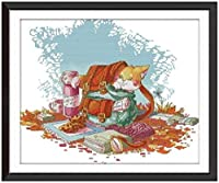 刺繍キットクロスステッチ刺しゅう工芸品バックパック猫刺繍初心者手作りのの針仕事(11CT)大人の子供手芸ギフトキット家具装飾40x50cm,アユニークな家の装飾