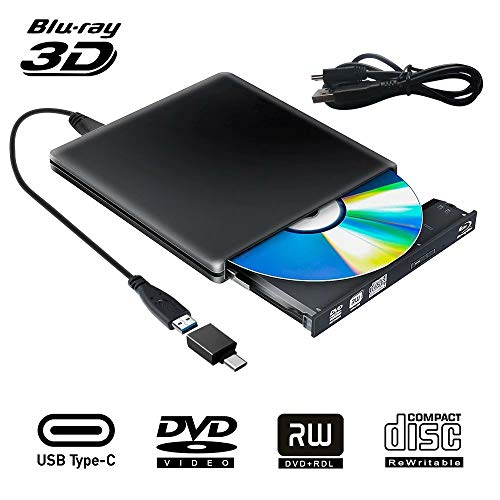 Externe Blu Ray 3D DVD Laufwerk USB 3.0 USB Type C Externes Blueray CD DVD RW Rom Tragbar Brenner für PC MacBook iMac Mac OS Windows 7/8/10/Vista/XP