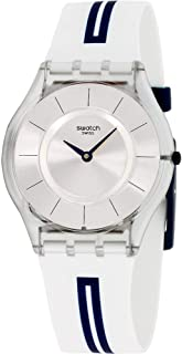 Swatch Skin Mediolino Silver Dial Silicone Strap Unisex Watch SFE112