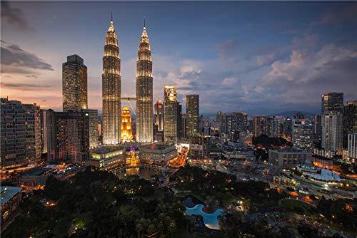 100/300/500/1000 piezas juego de rompecabezas juguetes para niños adultos,Torre Petronas, Kuala Lumpur Malasia Coordinación de lógica 3D Maze