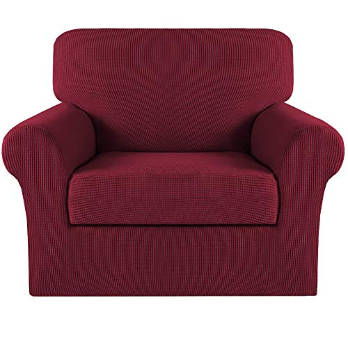 Turquoize 2 Piece Sofa Covers Chair Cover Couch Covers Slipcovers Furniture Protector for Living Room Arm Chair Slipcover with Elastic Bottom Jacquard Small Check (Chair, Burgundy)