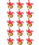 ECOSCO Mini Masquerade Masks Party Decorations 15pcs Pack Supper Small Mardi Gras Halloween Mask Party Favors (B-Red 15pcs)