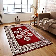 SINGHSVILLAS DECOR Traditional Big Size Cotton Carpet for Living Room,Hall Bedroom Floor,Drawing Room, Study Room, Embroidery Design Floor Covering Carpet Size :-(5feet x7 feet)(153cmx213cm)