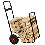 ZENY Firewood Fireplace Log Rack Cart Carrier Fireside Shelter Wood Mover Hauler, Rolling Firewood Storage Cart Dolly,Indoor Outdoor