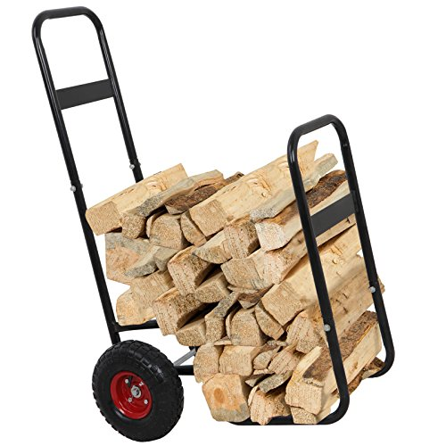 ZENY Firewood Fireplace Log Rack Cart Carrier Fireside Shelter Wood Mover Hauler, Rolling Firewood...
