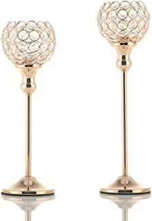 VINCIGANT Gold Crystal Candle Holders Coffee Table Decorative Centerpiece Candlesticks Set for Dining Table Decorations,Gifts for Thanksgiving/Birthday/Housewarming