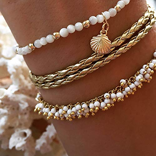 JIAMIN Ladies bracelet Gold Color Bohemia Anklets Set for Women Imitation Pearl Shell Star Beads Trendy Ankle Bracelet Female Beach Jewelry Ladies bracelet (Metal Color : 1)
