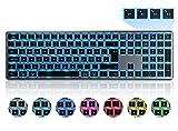 seenda Bluetooth Tastatur Kabellos Beleuchtet, Funktastatur mit LED Beleuchtung, Multi-Device (4 Bluetooth) Wireless Keyboard, QWERTZ Layout für Mac/iMac/PC/Laptop/Tablet/iPad/Computer(Space Grau)