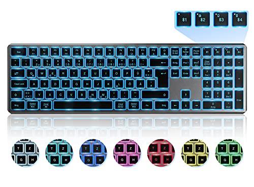 Beleuchtete Bluetooth Funktastatur, Seenda Kabellose Tastatur mit LED Beleuchtung, Multi-Device (4 Bluetooth) Wireless Keyboard, QWERTZ Layout für Mac/Windows/PC/Laptop/Android/iPad(Space Grau)