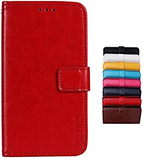 BRAND SET Case for Vivo Y15 2019 Case Wallet style faux leather flip Case with Secure Magnetic Closure Lock and bracket function,Suitable for Vivo Y15 2019 (Red)