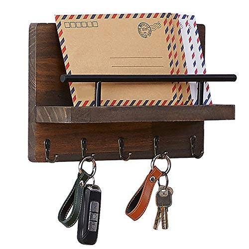 Superjare Wall Mount Mail and Key Holder Organizer, Entryway Letter Storage Basket with 5 Hooks, Durable Wooden Sorter Organizer for Mudroom, Hallway, Office