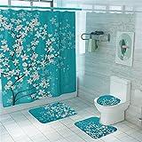 Taeamjone Cherry Blossom Duschvorhang-Sets mit rutschfesten Teppichen, WC-Deckelbezug & Badematte, Frühlings-Sakura-Blume, Duschvorhang mit 12 Haken, Blau Wasserdicht Langlebig Badvorhang (Blau)