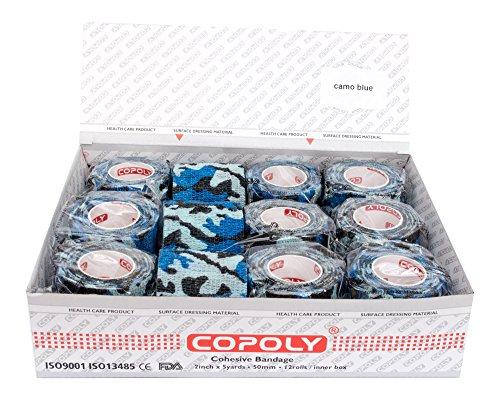 Copoly Rotoli di bende elastiche coesive da 5cm, bendaggio veterinario (mimetico, decorato, rosa, nero), confezione da 12 rotoli