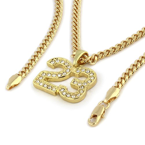 Mens Gold Plated Mini Cz'23' Pendant 3mm 24' Cuban Hip Hop Chain Necklace