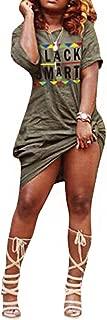 Women's Casual Letter Print Off Shoulder Long Sleeve Bowknot Sides Slit Loose Long T-Shirt Maxi Dress
