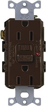 Lutron CAR-15-GFTR-BR Claro 15-Amp Tamper Resistant GFCI Receptacle Brown