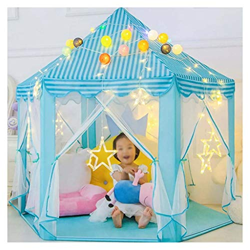Kid Tent Kids Play Tent, Indoor Private Play Castle, Children's Christmas and Birthday Gifts, Visible Mesh Material, 140x135cm, 2 Colors (Color : Blue)