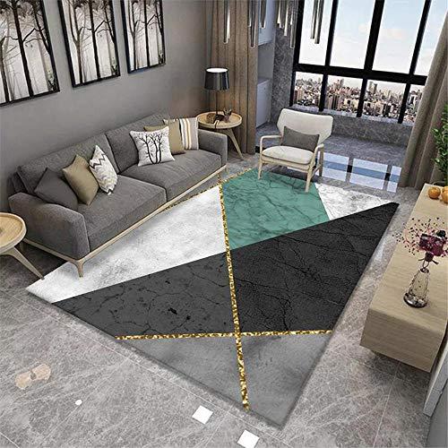 La alfombras Alfombra Juvenil Alfombra geométrica Blanca Gris Negra Antideslizante para Sala de Estar sin decoloración Decoracion habitacion niña Decoracion de habitacion 180*250cm
