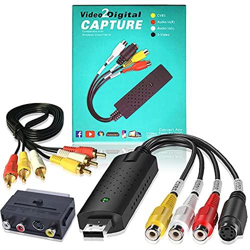 VHS Convertitore USB 2.0 in Digitale Video e Audio, Video Grabber Trasferisce Capture COMPLETO(USB2.0 VCR Converter a DVD + Adattatore Scart + Cavo RCA) per Windows 10 8 7 Vista XP