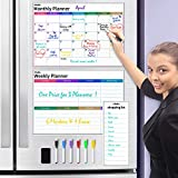 Dry Erase Calendar for Fridge, Ohuhu Set of 3 Magnetic Whiteboard Calendars 17x12' Monthly Calendars, 17x12' Weekly Organizer & 5x12' Daily Notepad with 6 Markers and a Eraser for Kitchen Refrigerator