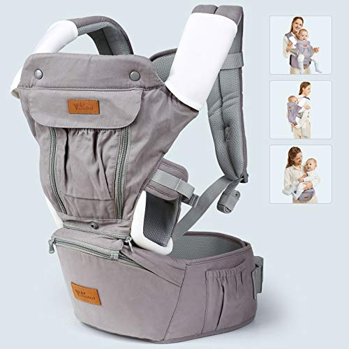 9 in 1 Baby - Carrier- Amzdeal Ergonomic Baby -Carrier with Hip Seat, Adjustable Baby Backpack Carrier for Newborn to Toddler(3-36 Months), Perfect for Shopping Hiking Travel