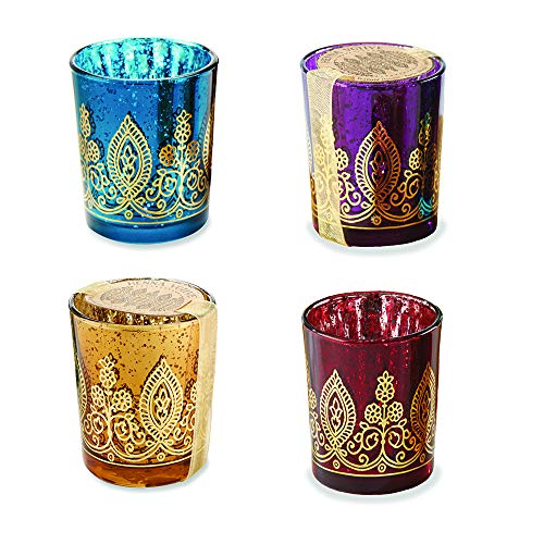 Kate Aspen Indian Jewel Henna Glass Votives  Tealight Candle Holders  Wedding Decorations/Favors  Assorted Colors (Set of 4) (20177NA)