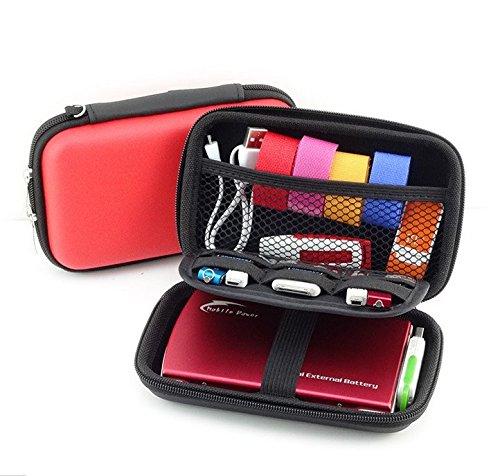 2-lagige Schutzhüllen-Reisetasche für Externe Festplatte, elektronisches Zubehör, Diabetiker-Test-Kit Blutzuckermessung System Healthcare Kit Kamera Rot rot S