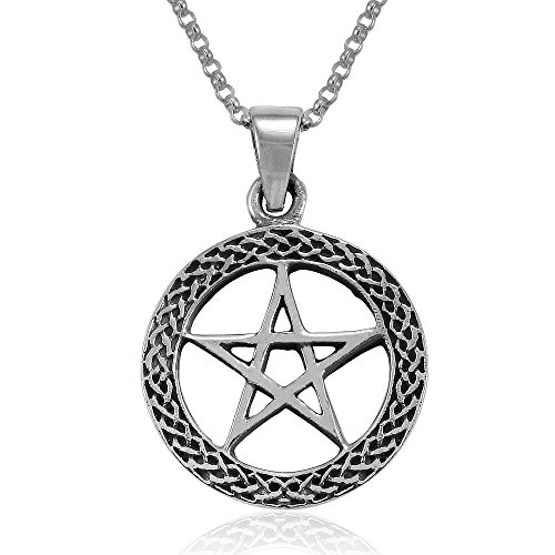 Mimi Sterling Silver Celtic Wiccan Pentacle Pentagram Round Pendant Necklace, 18 inches
