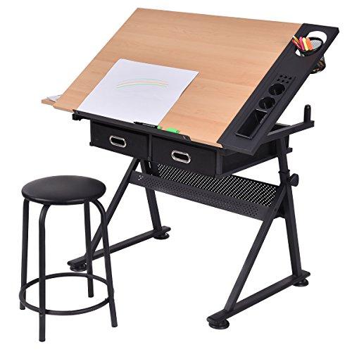 DREAMADE Zeichentisch-Set, Architektentisch Schreibtisch, Schülerschreibtisch Bürotisch Höhenverstellbar Neigungsverstellbar, mit Schubladen und Hocker, Holz