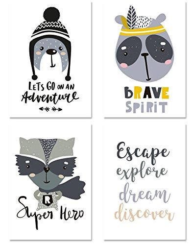 PICSonPAPER Enfants Lot de 4 Poster de l'Avent Non encadré Din A4 Décoration pour Chambre d'enfant Style scandinave Animal Illustration Posters Enfant Cadeau