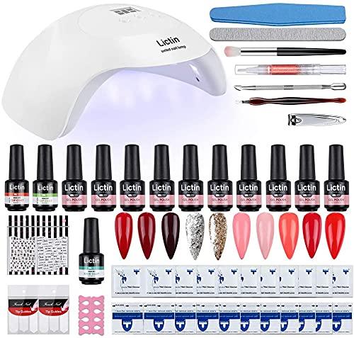 Lictin kit Uñas de Gel-10 Colores Kit Poly Gel para Uñas con LED Lámpara, 8ML Esmalte Semipermanente Gel Uñas con Capa Base Capa Superior, Removedor de Uñas, Herramientas de Manicura