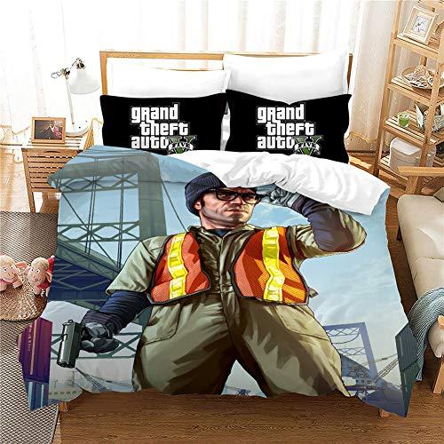 Yomoco Grand Theft Car Duvet Cover Set - Duvet Cover and Two Pillow Cases Microfibre 3D Digital Print 3-Piece Bedding Set, 08, Double 200x200cm