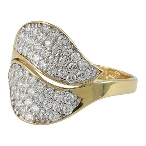 Gioiello Italiano - Anello in oro 18kt con pavé di zirconi bianchi, due colori disponibili, da donna