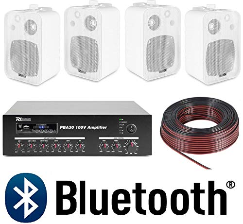 IMPIANTO AUDIO ATTIVO FILODIFFUSIONE LINEA 100V amplificatore BT + 4 diffusori parete + 100 mt. cavo