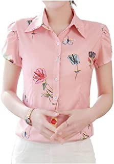 Comaba Women Floral T Shirts Casual Slim Button Down Blouse Top