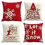Gspirit 4 Stück Kissenbezug Frohe Weihnachten Dekorative Kissenhülle Winter Schneeflocke Elk Weihnachtsbaum Muster Baumwolle Leinen Werfen Sie Kissenbezüge 45x45 cm