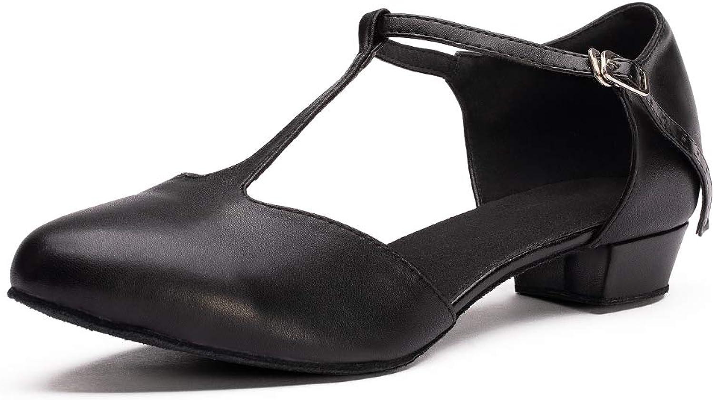 Dress First Flats Dance shoes Women Low Heel Genuine Leather Pumps T-Strap Latin Ballroom Salsa shoes,1