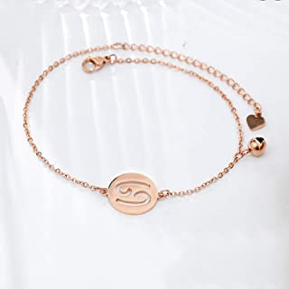 CXQ Personality Fashion Temperament Anklet Hollow Twelve Constellation Cancer Rose Gold Foot Ring Jewelry