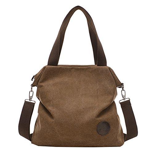 PB-SOAR Damen Canvas Tasche Schultertasche Handtasche Umhängetasche Shopper Beuteltasche 41x36x10cm (B x H x T), 5 Farben auswählbar (Braun)