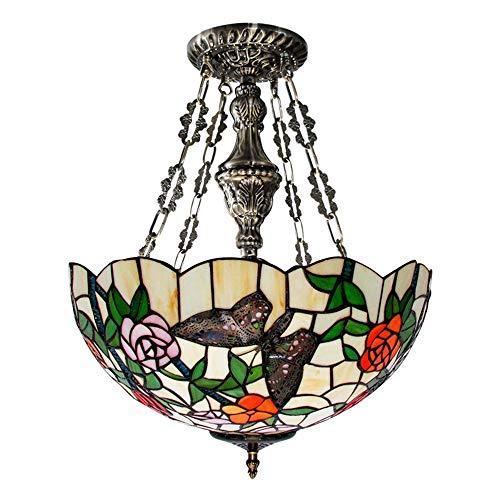 KK Gabby Lámpara de techo LED de mariposa rural estilo Tiffany Mediterráneo, lámpara de araña de cristal tintado retro luz cálida sala de estar dormitorio Φ40cm