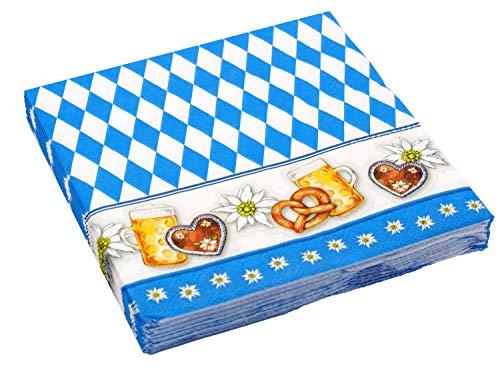 Unbekannt 20 Servietten Oktoberfest Bayrisch Blau Rauten Tischdeko Party Deko