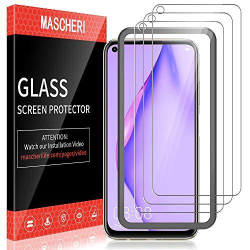 MASCHERI [3 Pack] Schutzfolie für Huawei P40 Lite Panzerglas, [Ausgestattet mit einem Einbaurahmen] [9H Festigkeit] Bildschirmschutzfolie Panzerfolie Glas Folie für Huawei P40 Lite