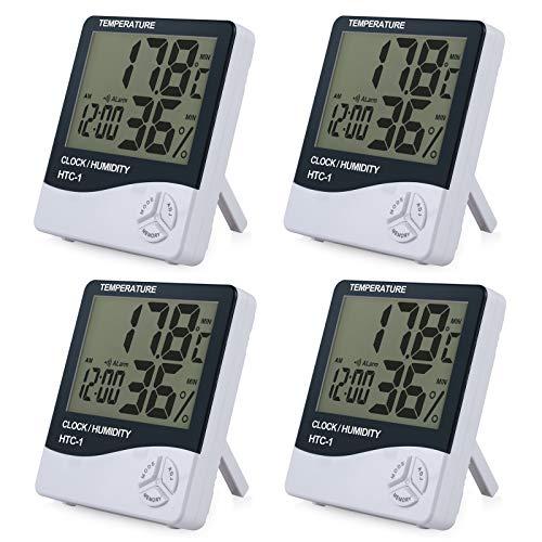 ESYNiC 4PZ 3 in 1 Igrometro Termometro Digitale con Display LCD Rilevatore Umidità Temperatura e Sistema di Display Tempo 12-ora / 24-ora con Sveglia