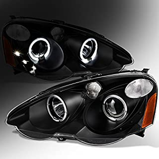 For 2002 2003 2004 Acura RSX Interga DC5 Left + Right Black Halo Projector Headlights Lamps Assembly Set