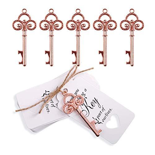 Tolyneil - 20 apribottiglie a forma di chiave, in stile anticato, con nastri in seta naturale, sacchetto per dolciumi, per gli invitati a matrimoni, feste, banchetti, baby shower