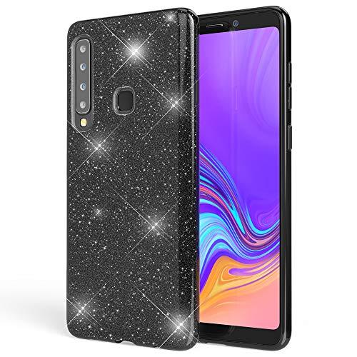 NALIA Custodia in Silicone compatibile con Samsung Galaxy A9 2018, Glitter Gel Copertura Protezione Sottile Cellulare, Slim Smartphone Cover Case Protettiva Scintillio Bumper, Colore:Nero