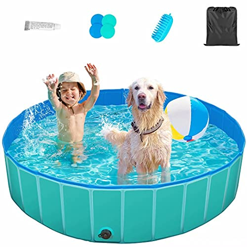 TREYWELL Dog Pool, Portable Pet Swimming Pool for Large Dogs, Foldable Kiddie Pool for Kids, Bathing Tub Bathtub for Dogs Cats with Brush, Repair Patch, Repair Glue and Storage Bag
