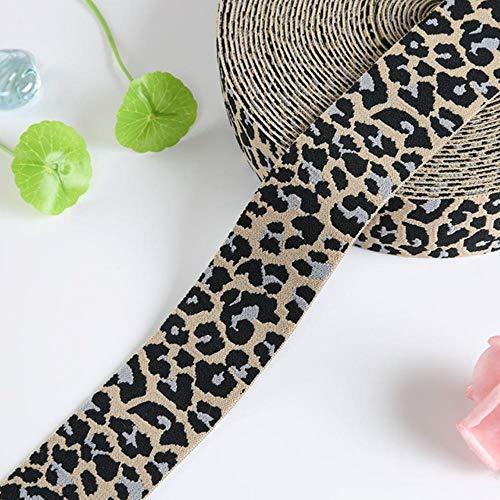 Luipaard bedrukte elastische band 4cm broek taille elastische lint singels tassen broek rubberen band 40mm DIY naaien accessoires 1M, beige grijs, 40mm