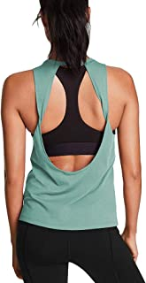 Mippo Womens Cute Workout Tops Open Back Yoga Shirts Gym Clothes Running Tank Tops